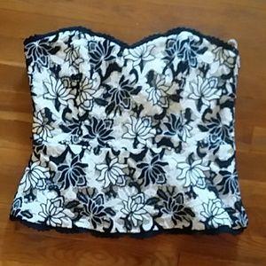 WHBM Black White Floral Crochet  Strapless Top